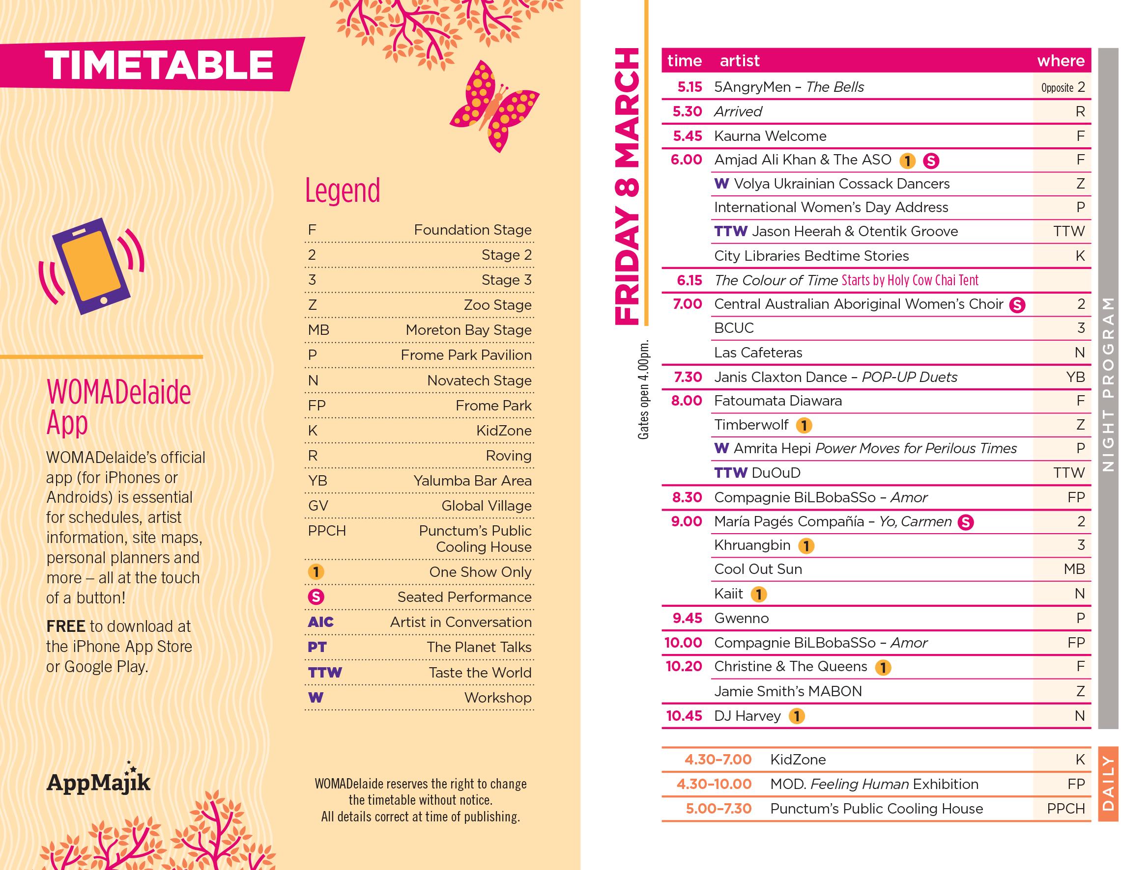 WOMADelaide_Timetable - 6 Feb 2019 FRI